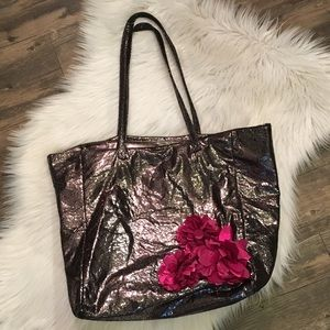 Deux Lux Gunmetal Tote Bag with Fuchsia Flowers